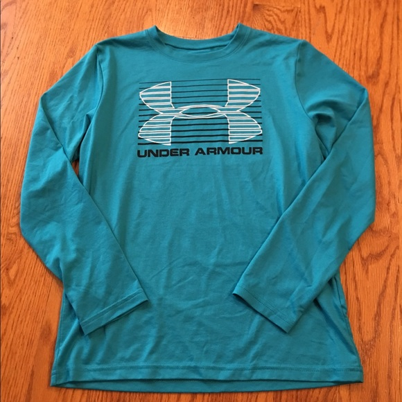 Under Armour Girls Loose Coup Heat Gear Turquoise Blue Shorts Sz L EUC